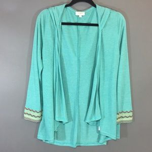 Umgee Open Front Hooded Cardigan Size Small Green